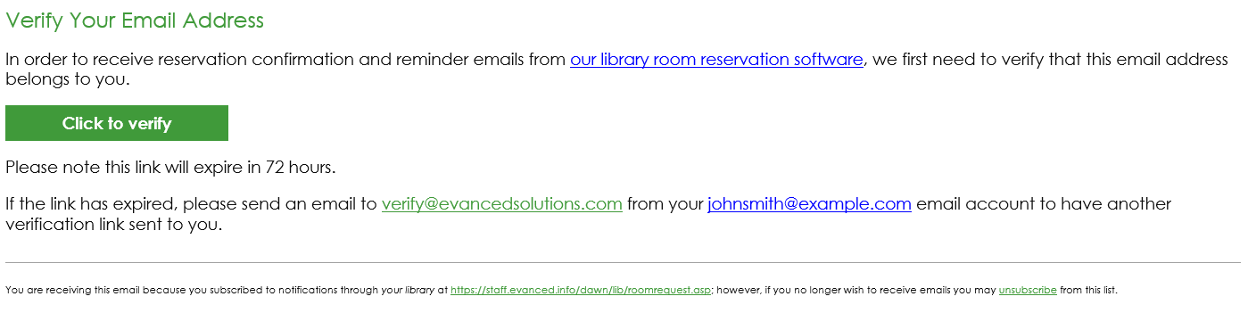 Room Reserve Verification Email